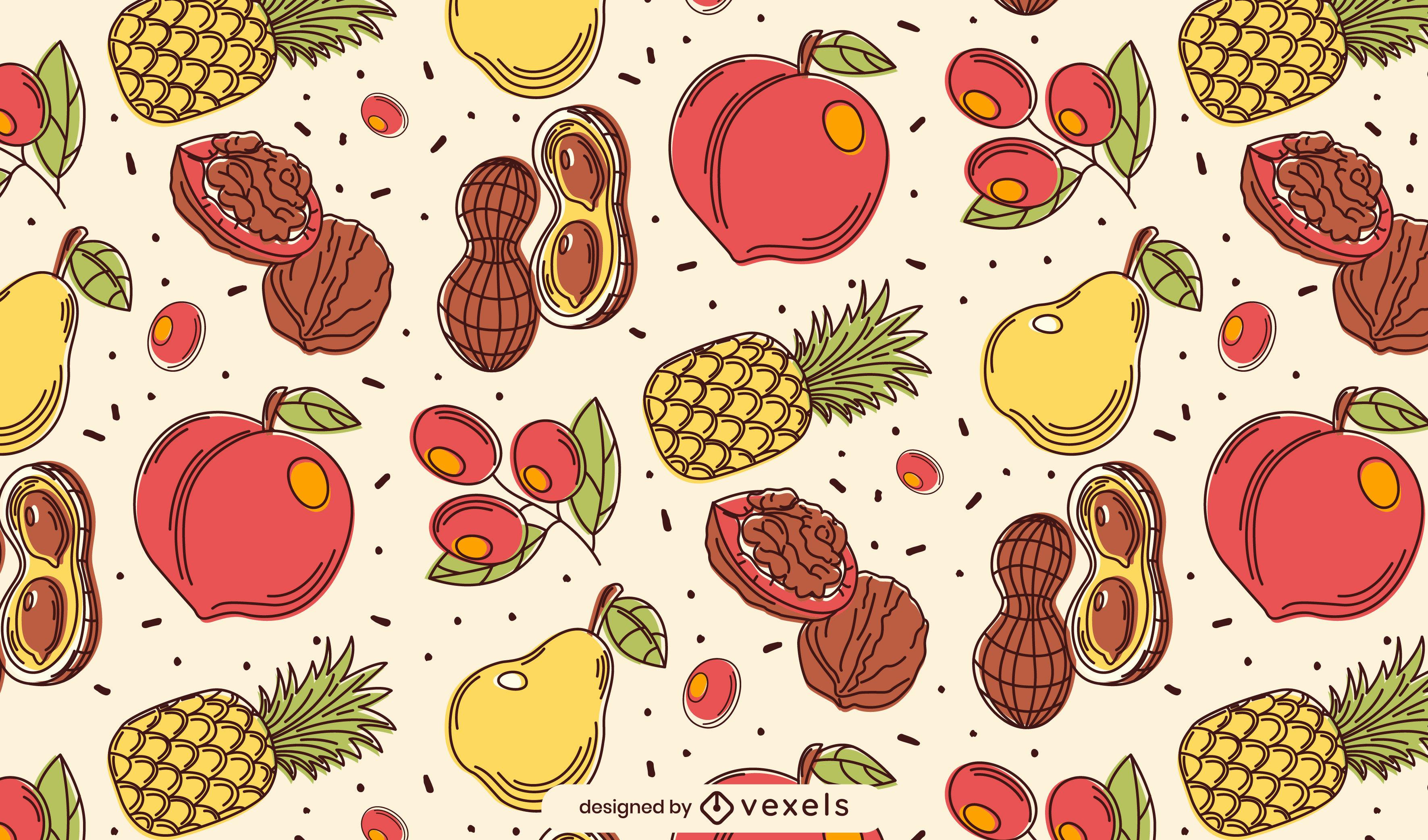 Dise?o de patr?n de alimentos de frutas y nueces.