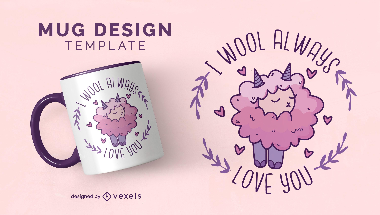 Sheep animal love quote mug template
