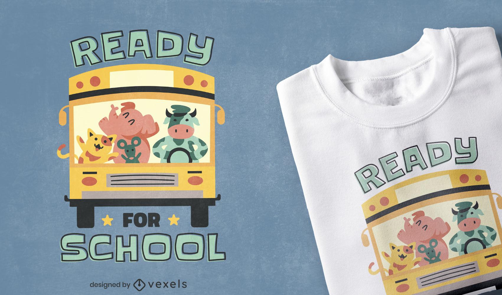 Diseño de camiseta de autobús escolar de animales de granja.