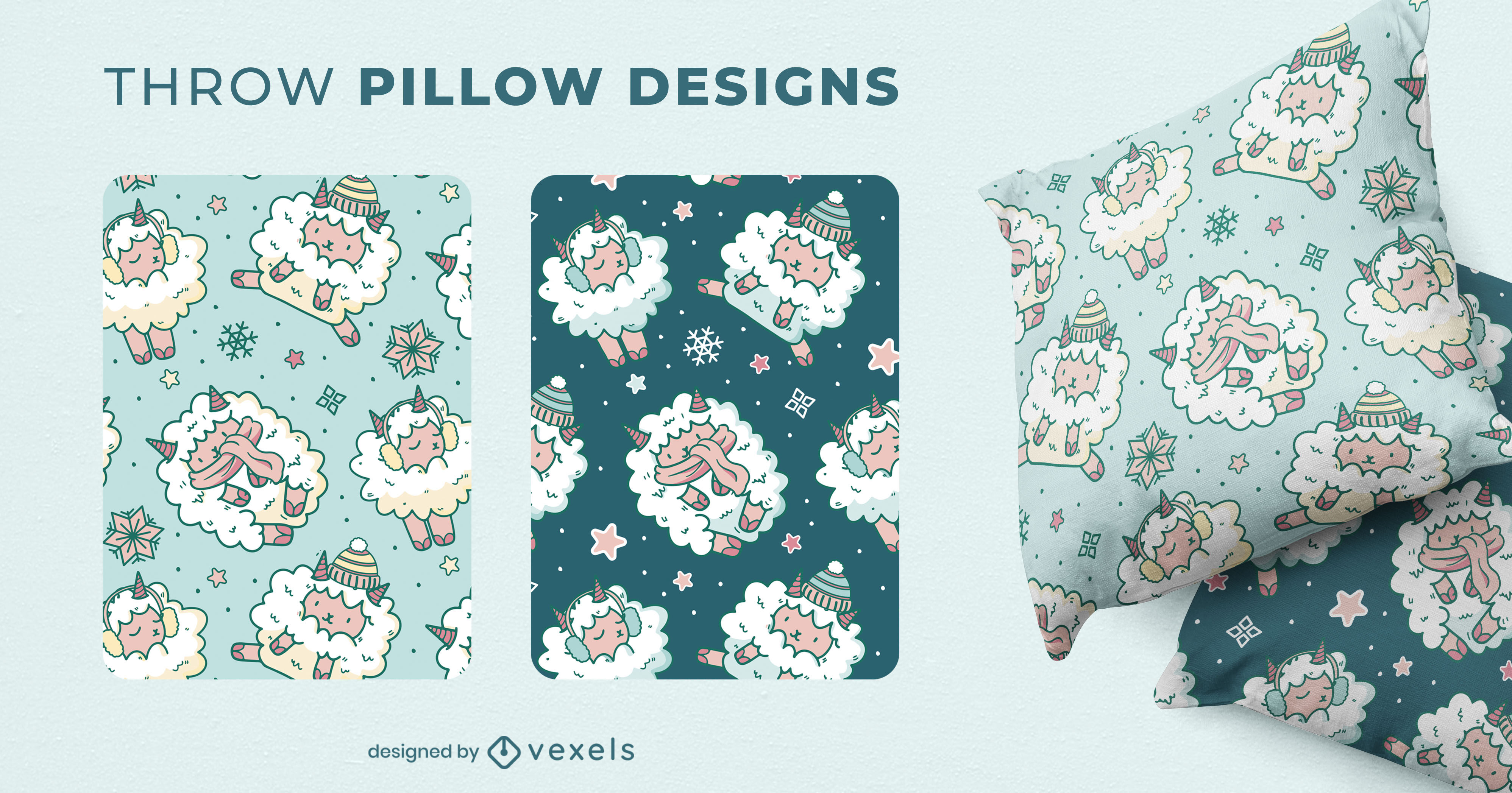Sheep animal winter throw pillow design