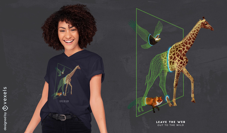 Wild animals walk through portal t-shirt psd
