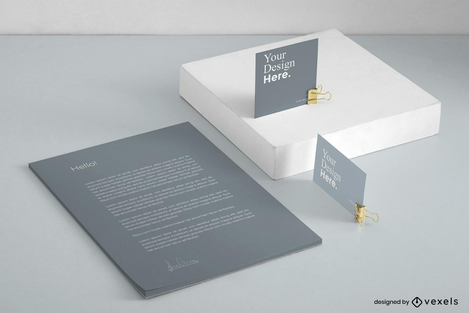Maquete de marca do conjunto de papelaria cinza