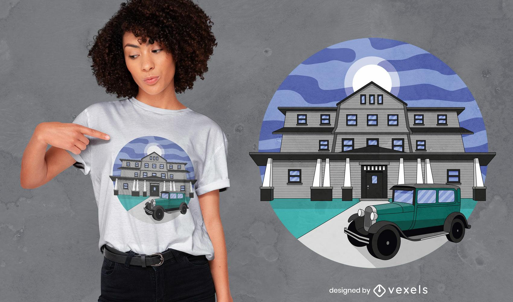 Dise?o de camiseta de edificio de mansi?n.