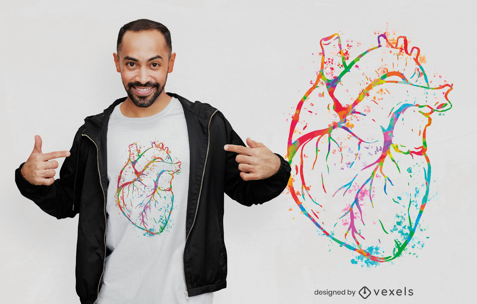 Beautiful watercolor heart t-shirt design