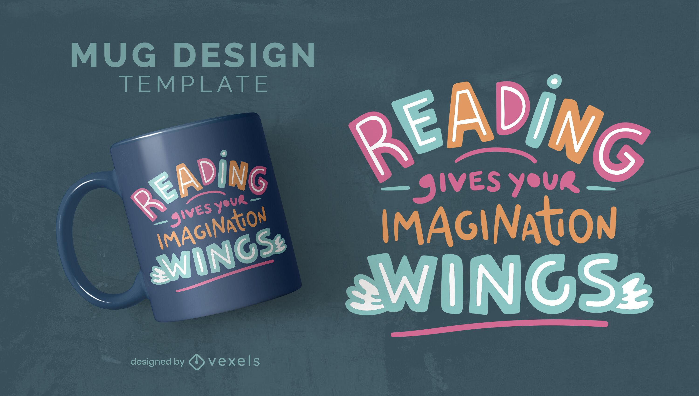 Love for reading hobby mug template
