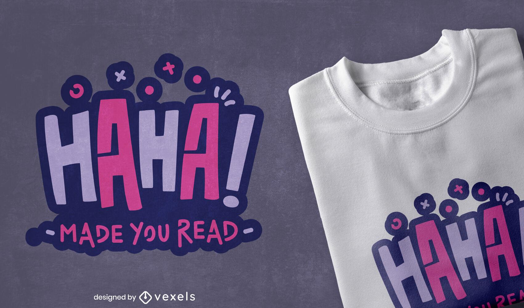 Diseño de camiseta divertida cita de lectura