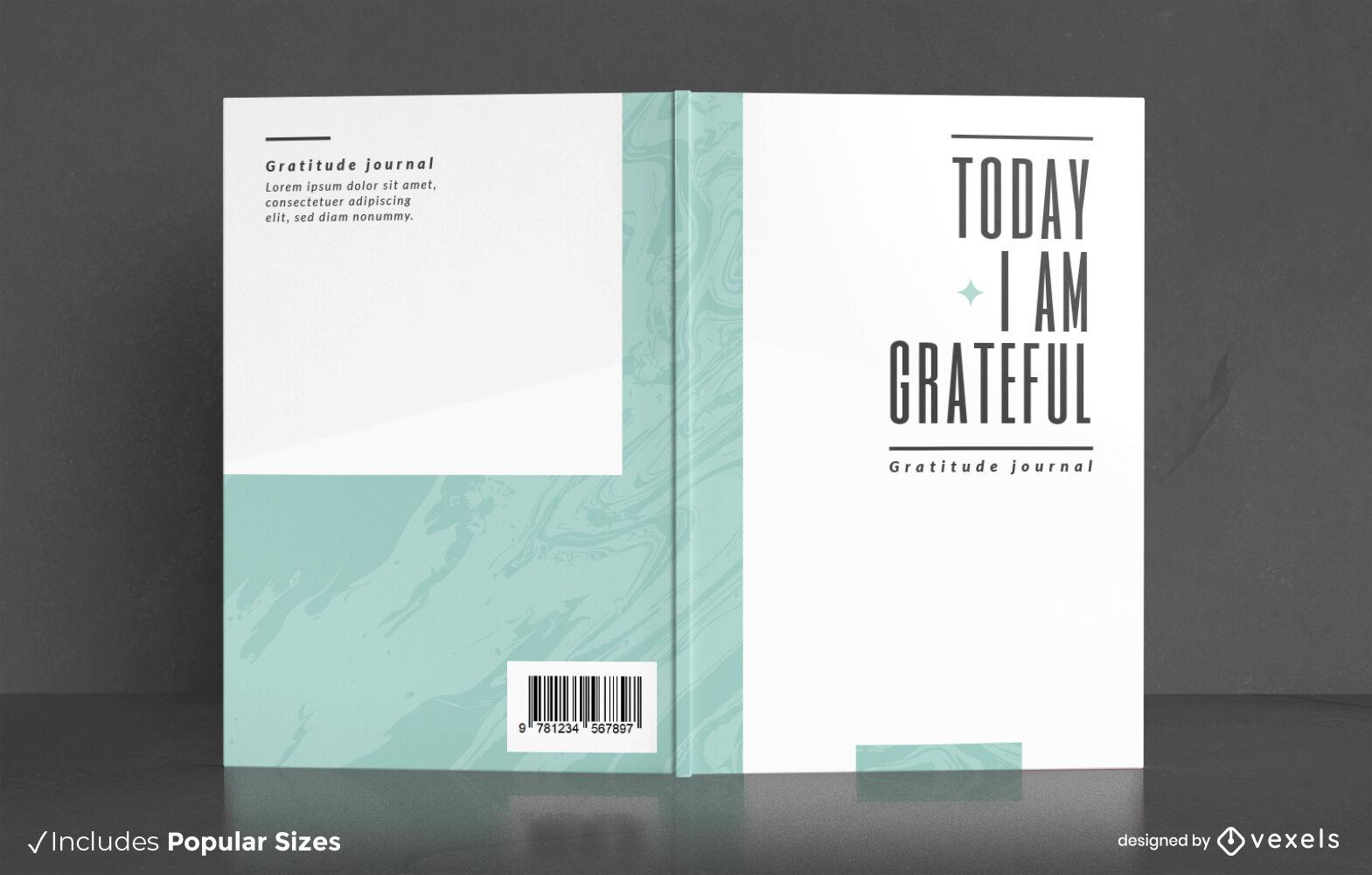 Dise?o de portada de libro minimalista de diario agradecido.