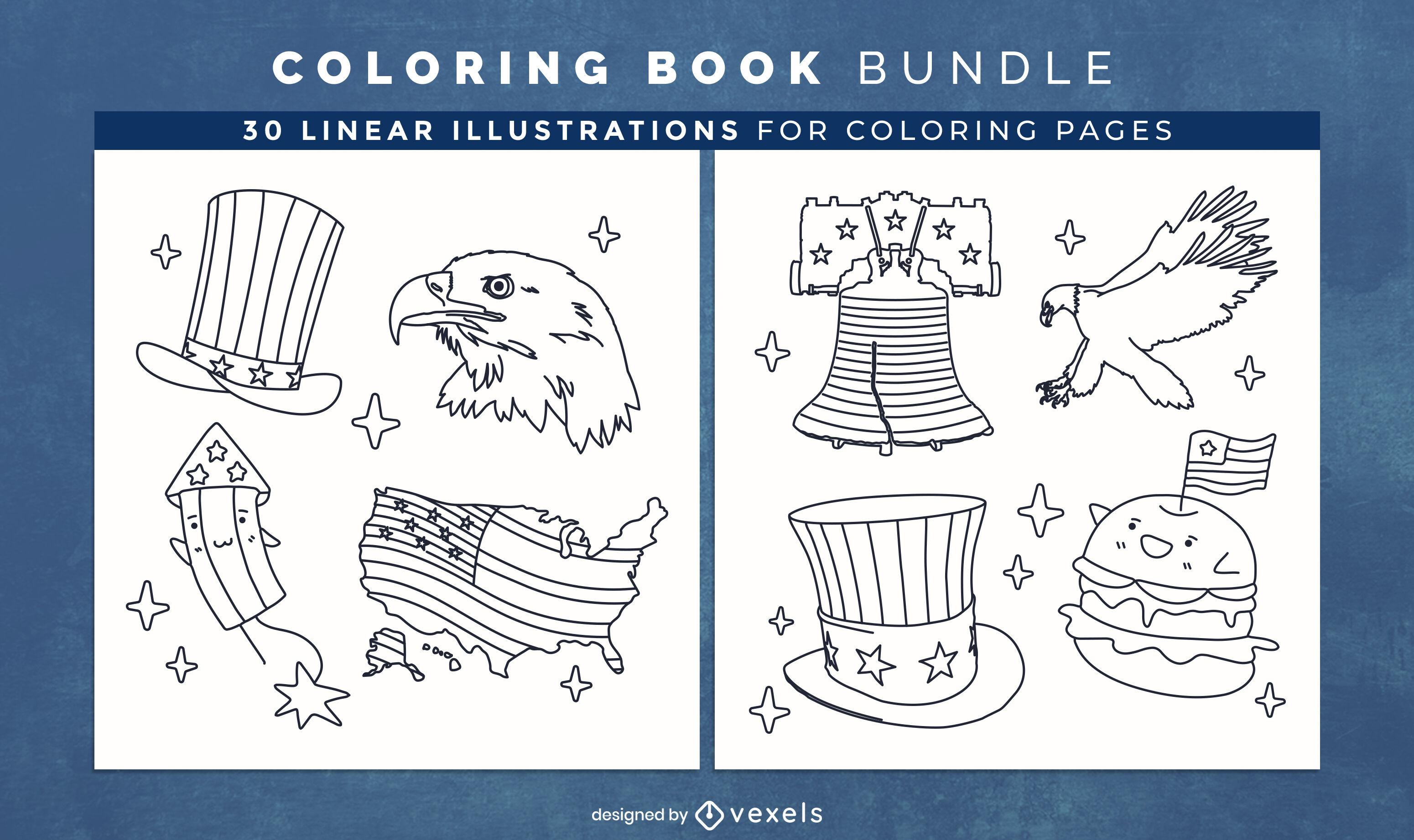 Diseño de páginas de libro para colorear del día de la independencia