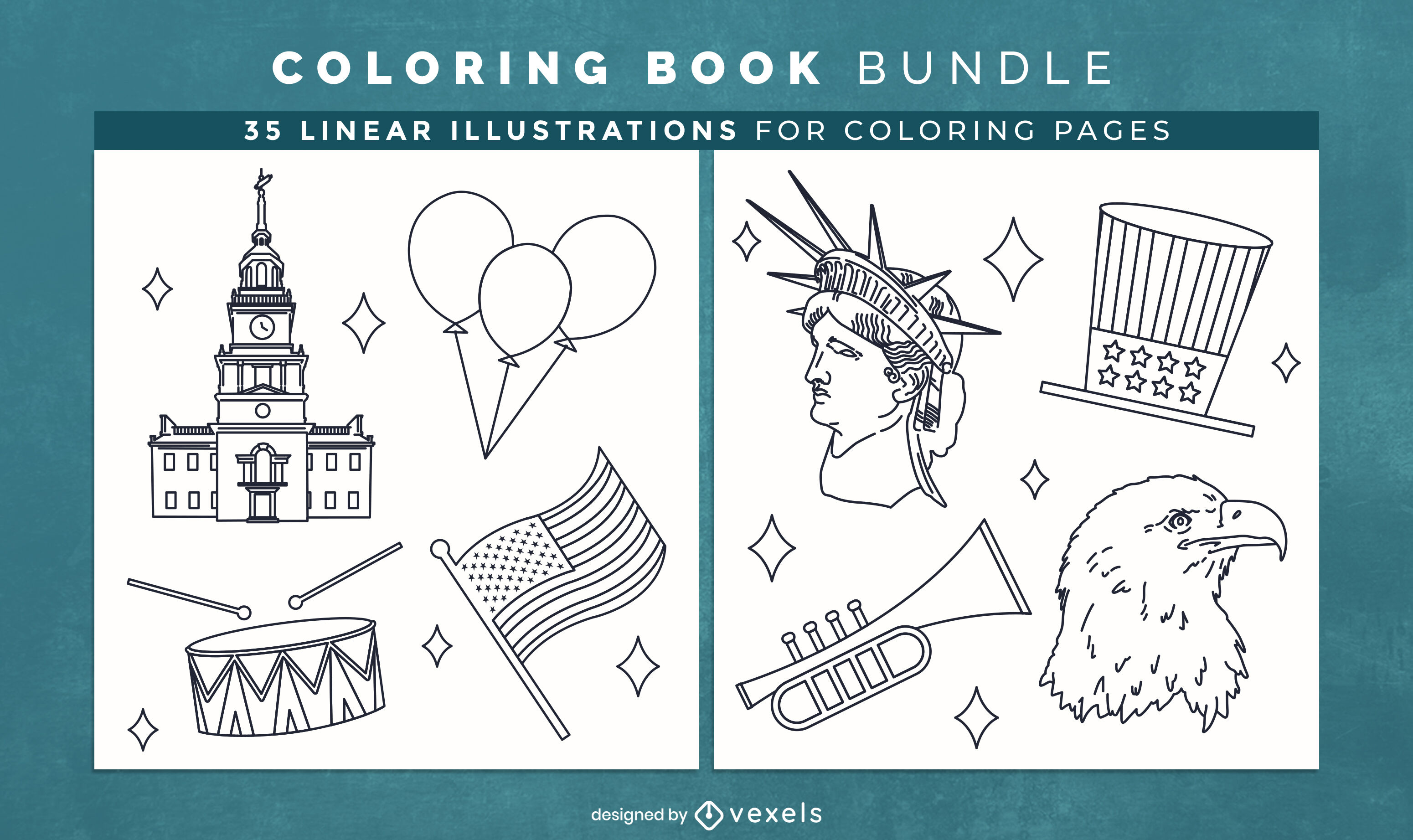 American culture coloring book pages design