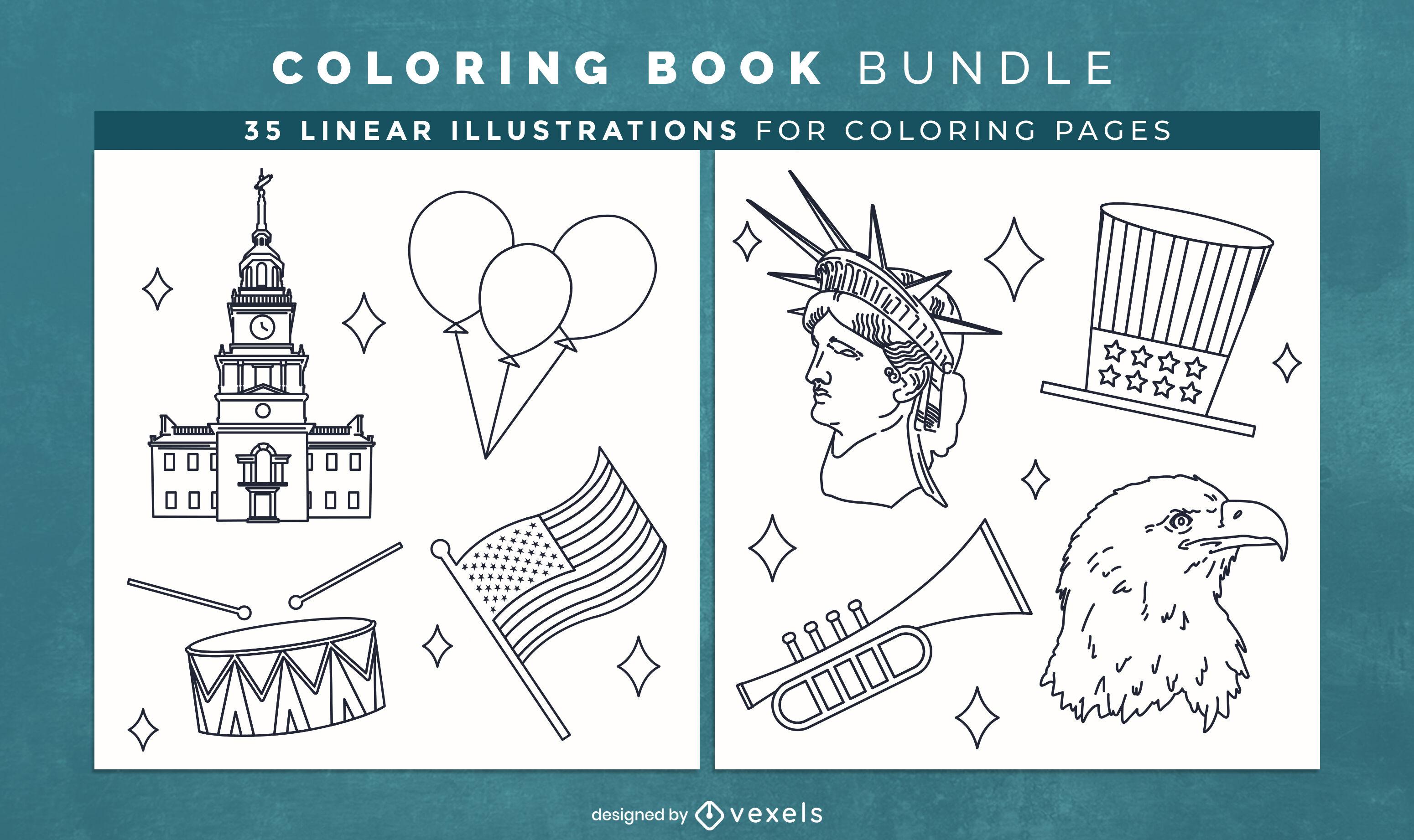 Diseño de páginas de libro para colorear de cultura americana