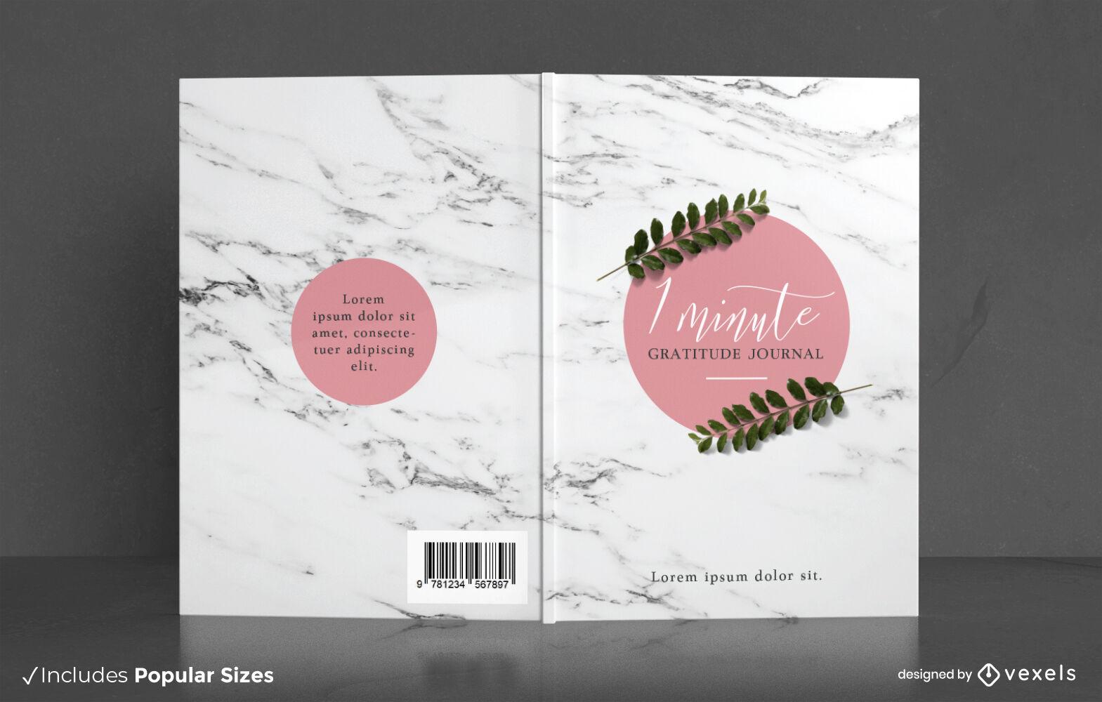 Gratitude journal leaves book cover design
