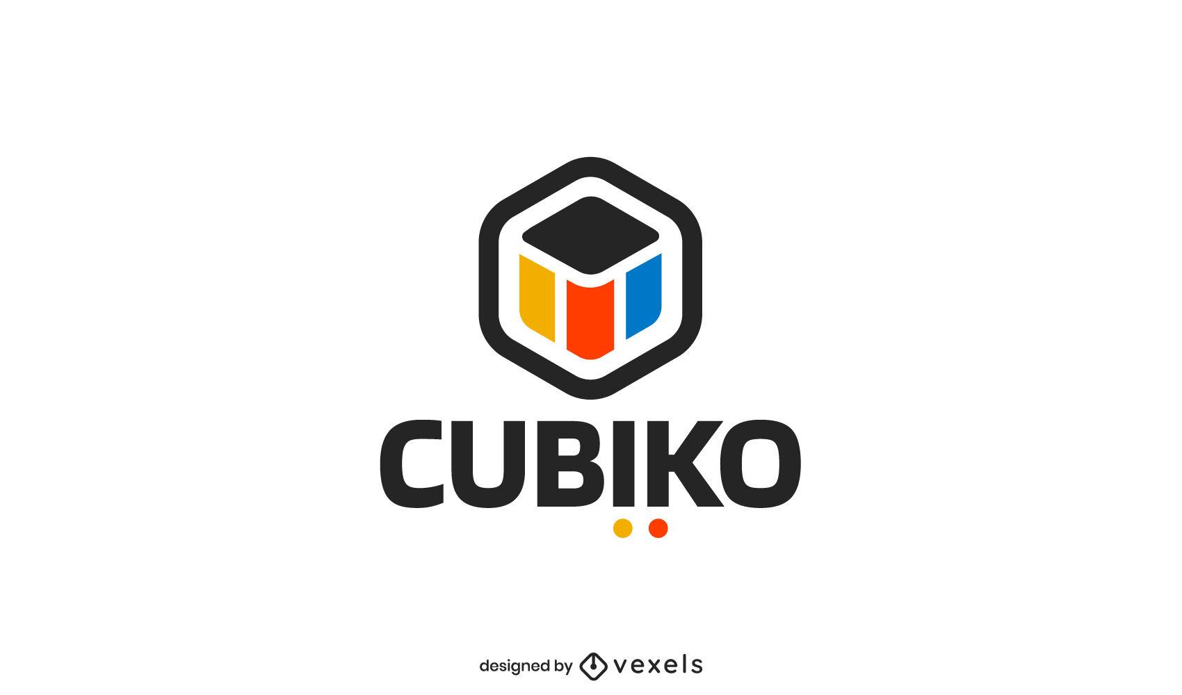 Design de logotipo colorido cúbico