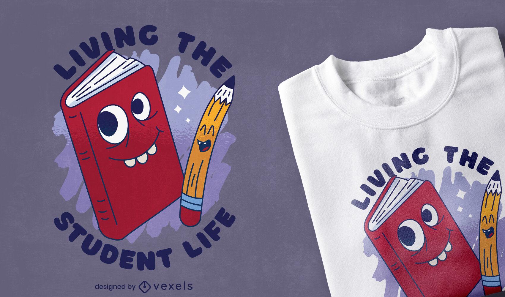 Diseño de camiseta de dibujos animados de libro y lápiz.