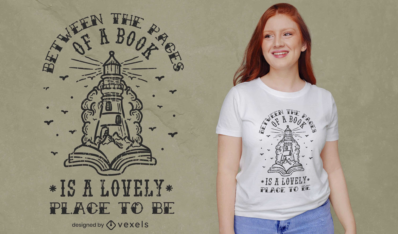 Diseño de camiseta de lectura de libros mágicos.
