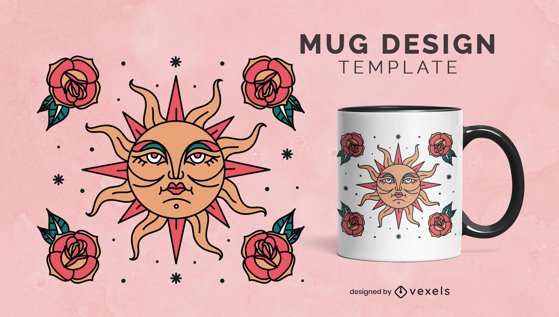 Sun and flowers nature mug template
