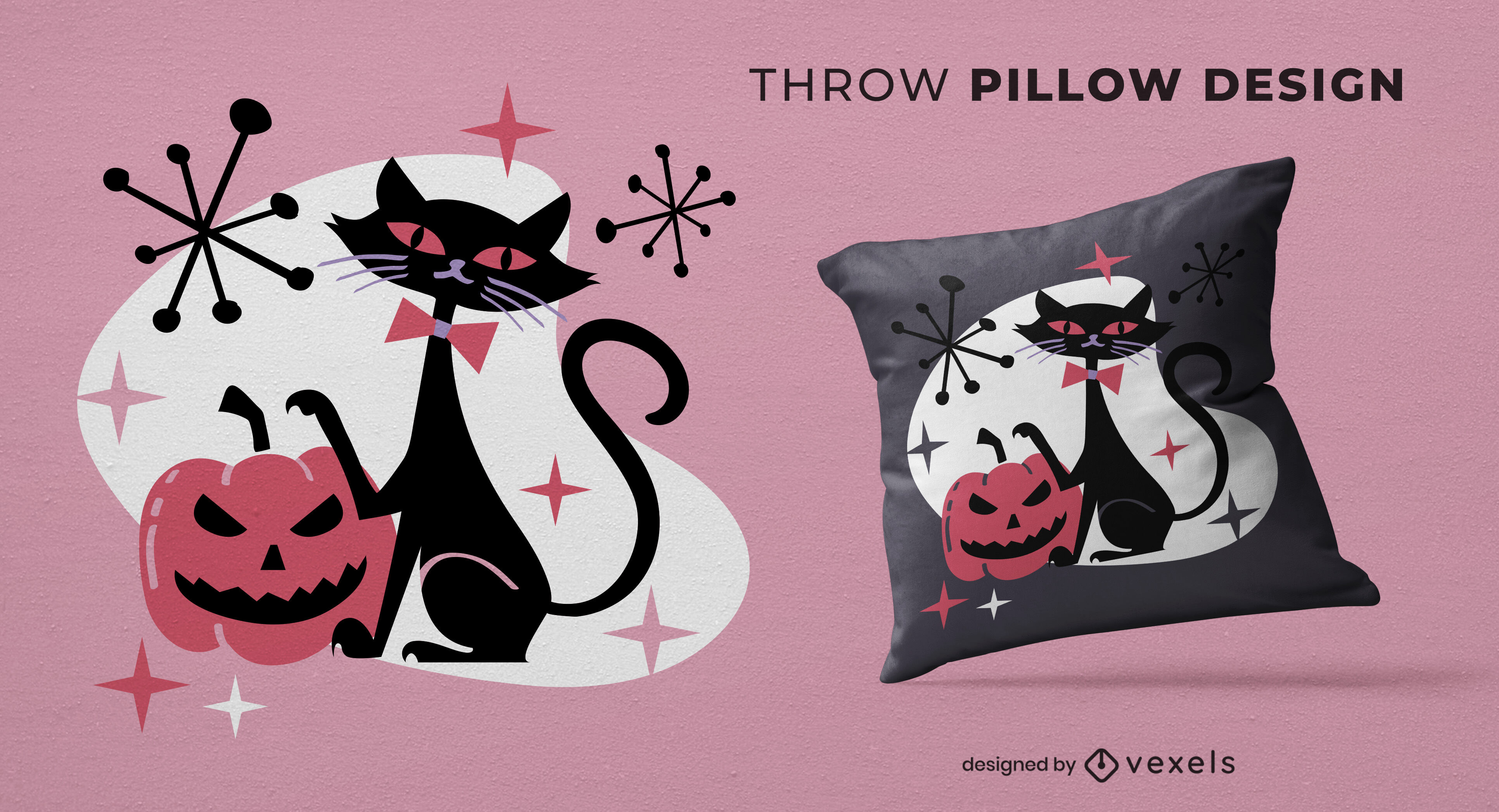 Black cat halloween throw pillow design