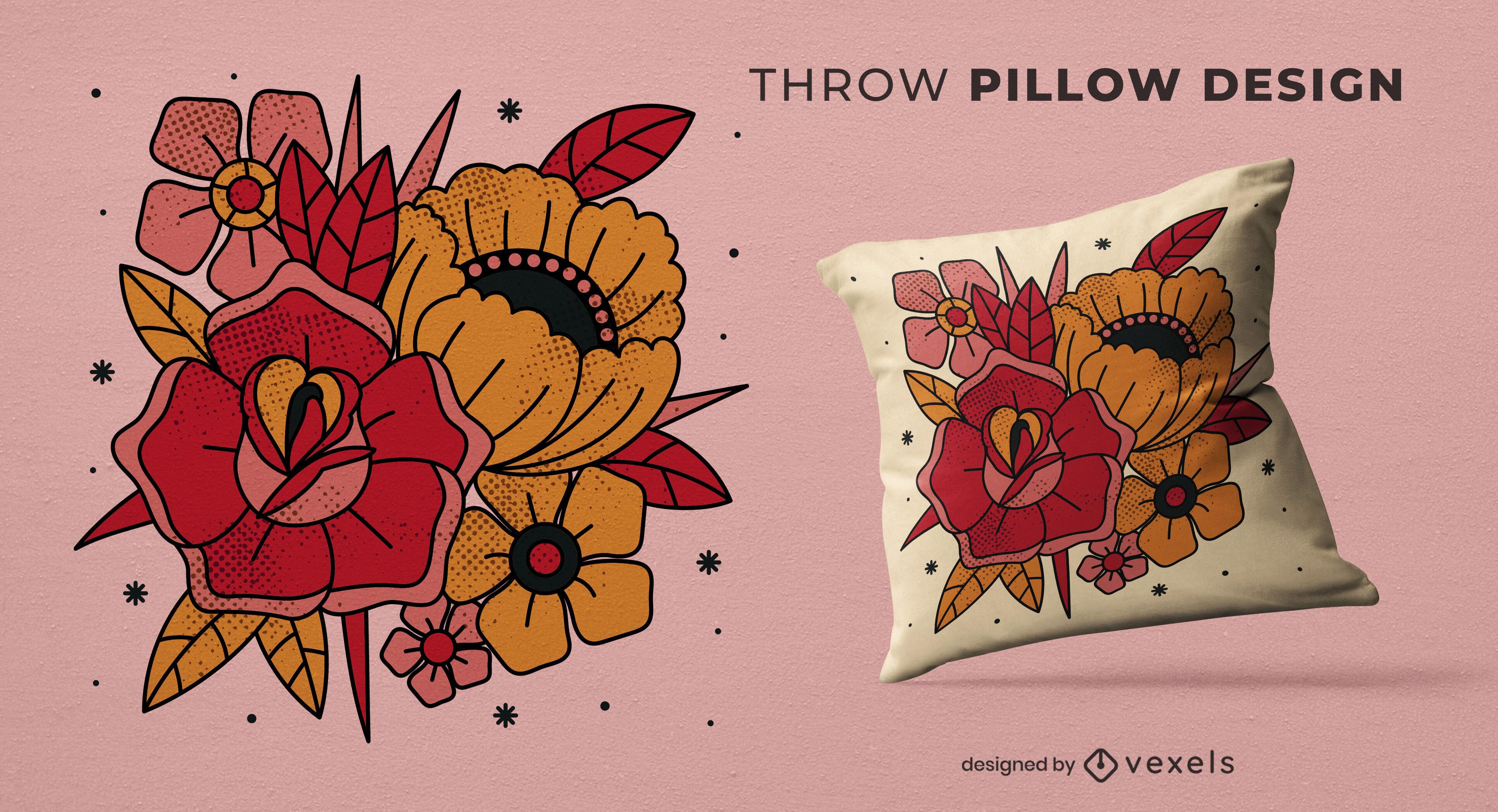 Design de travesseiro decorativo de buquê de flores