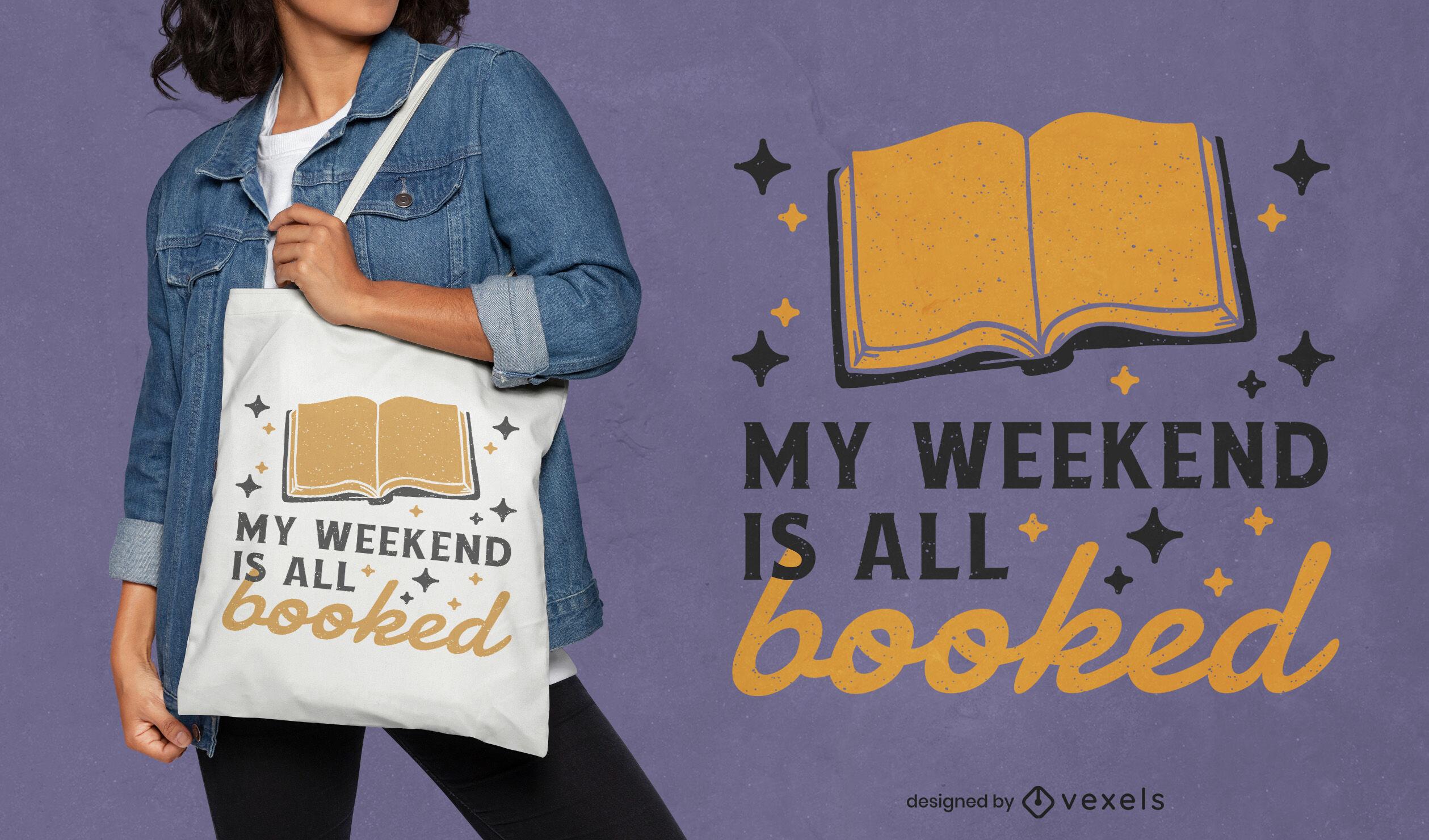 Ler livros hobby trocadilho design de sacola