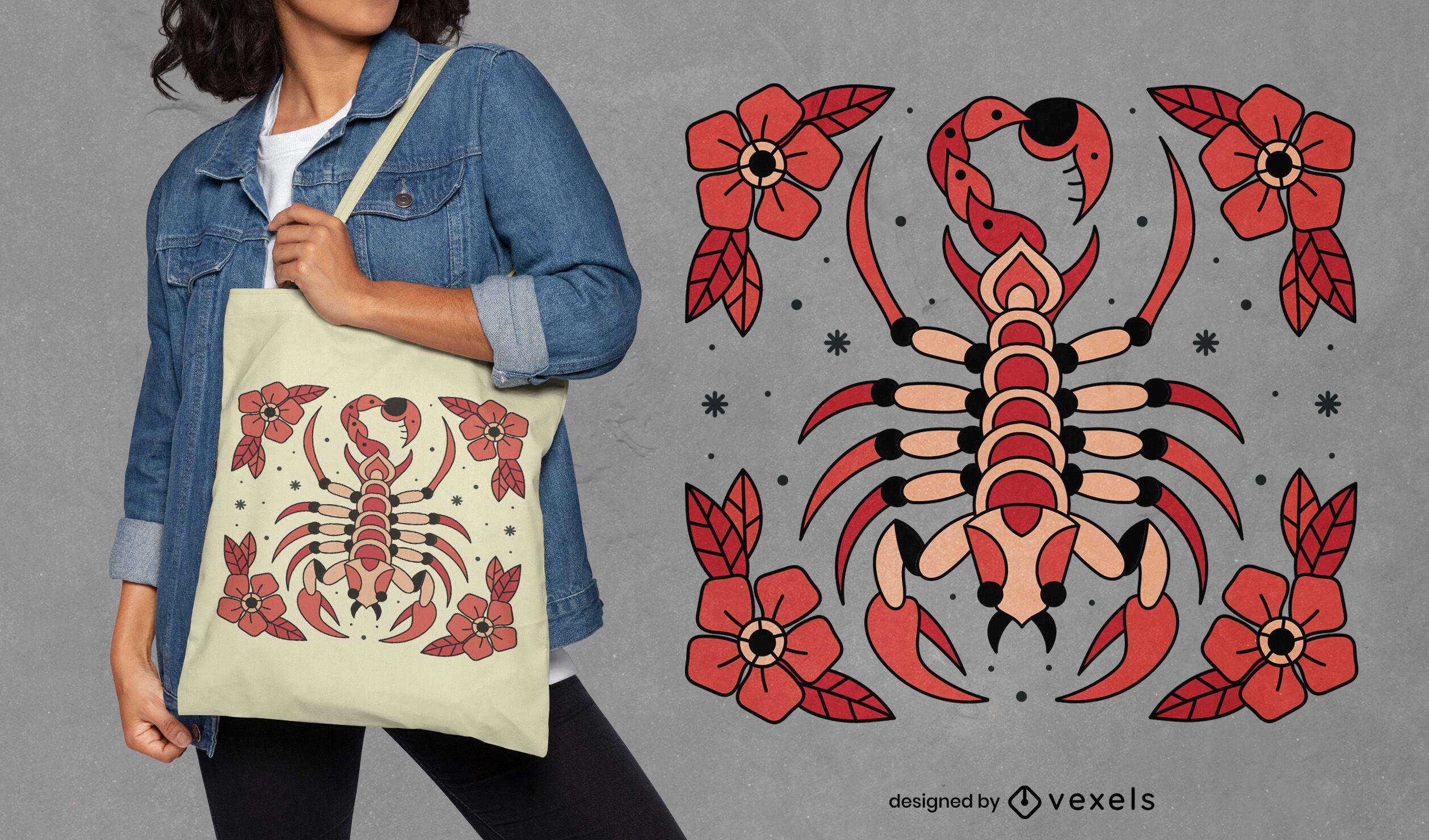 Scorpion animal tattoo tote bag design