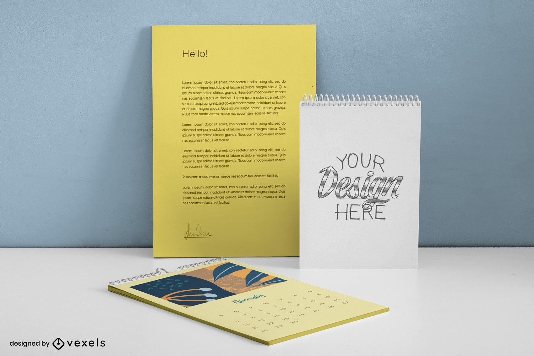 Maquete de kit de marca amarela estacionário