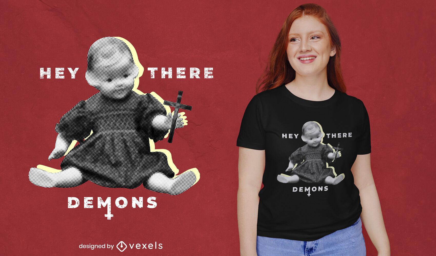 Camiseta estática de juguete de muñeca de niña espeluznante psd