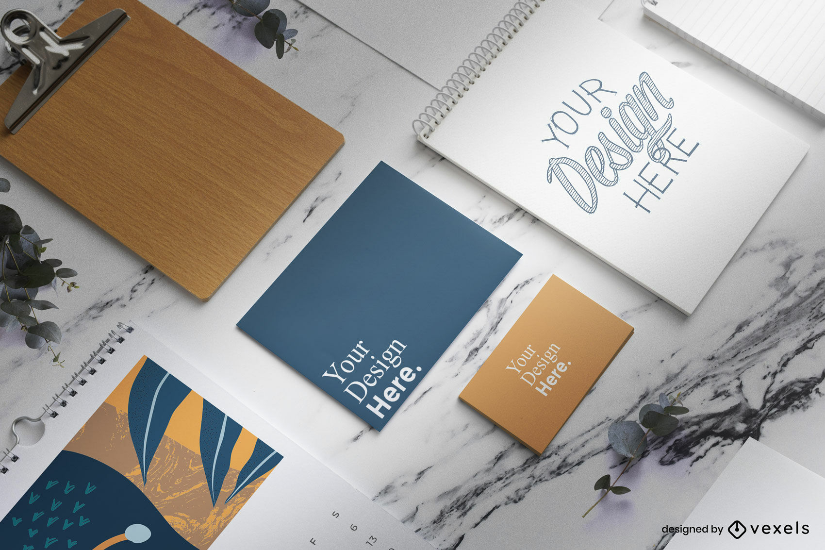 Stationary branding elements in marble table mockup