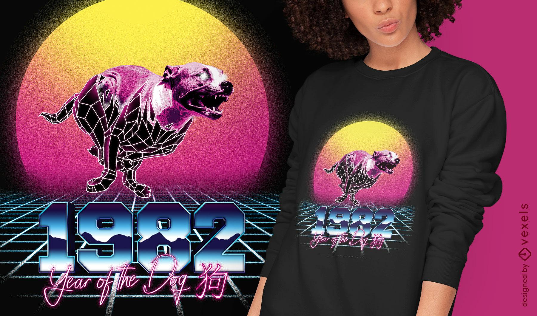 Dog chinese retrowave zodiac t-shirt psd