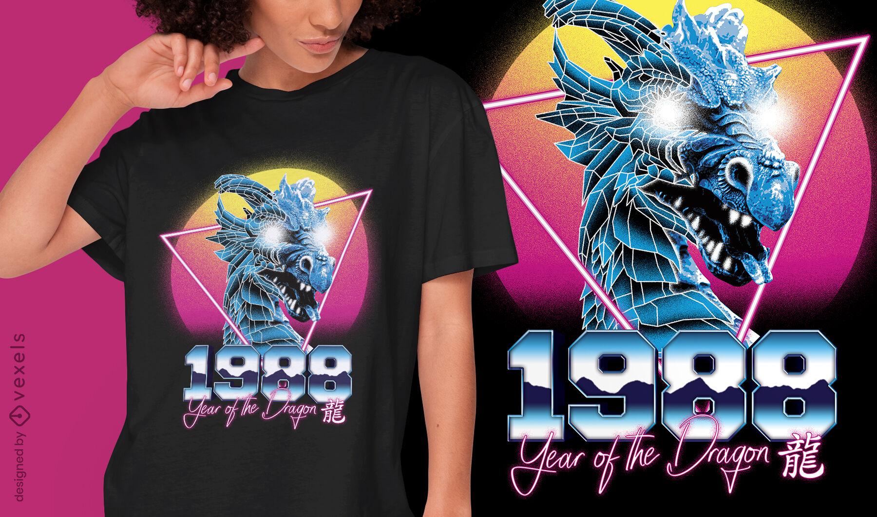 Dragon chinese retrowave zodiac t-shirt psd