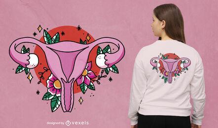 Floral uterus t-shirt design