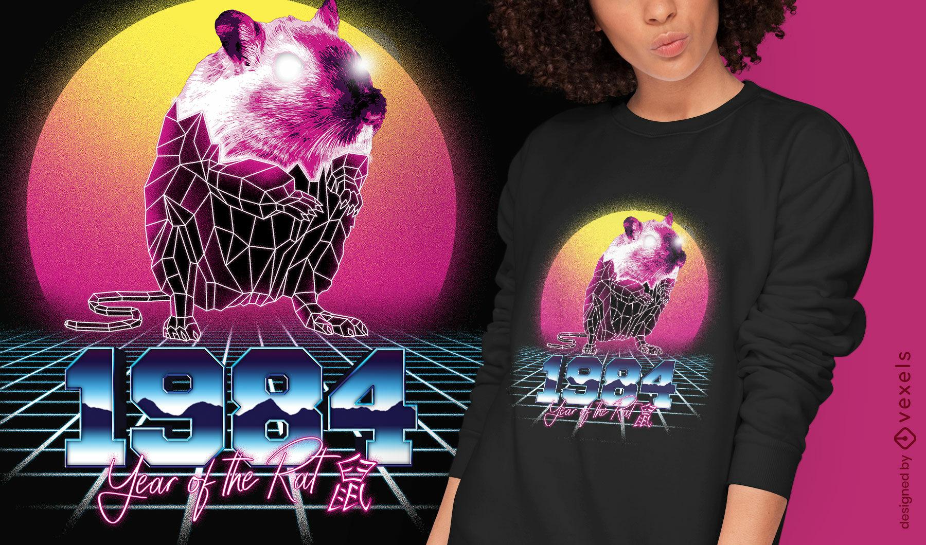 Rat chinese retrowave zodiac t-shirt psd