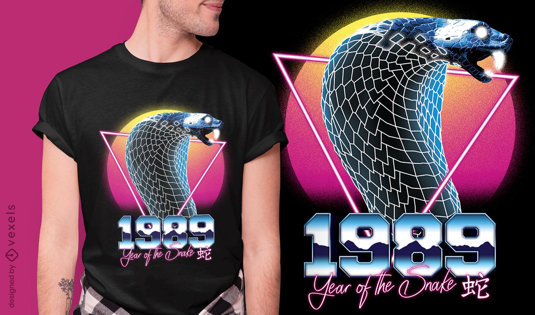 Snake chinese retrowave zodiac t-shirt psd