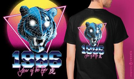 Camiseta del zodiaco chino retrowave tigre psd