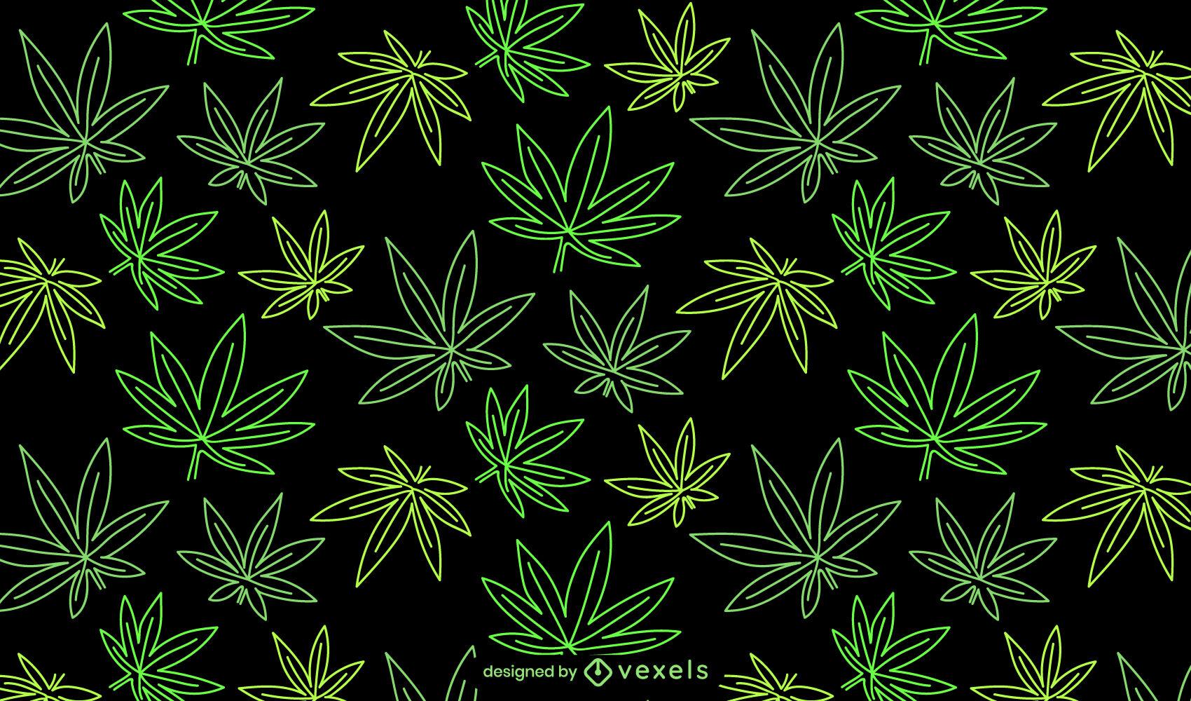 Cannabis tileable pattern design stroke