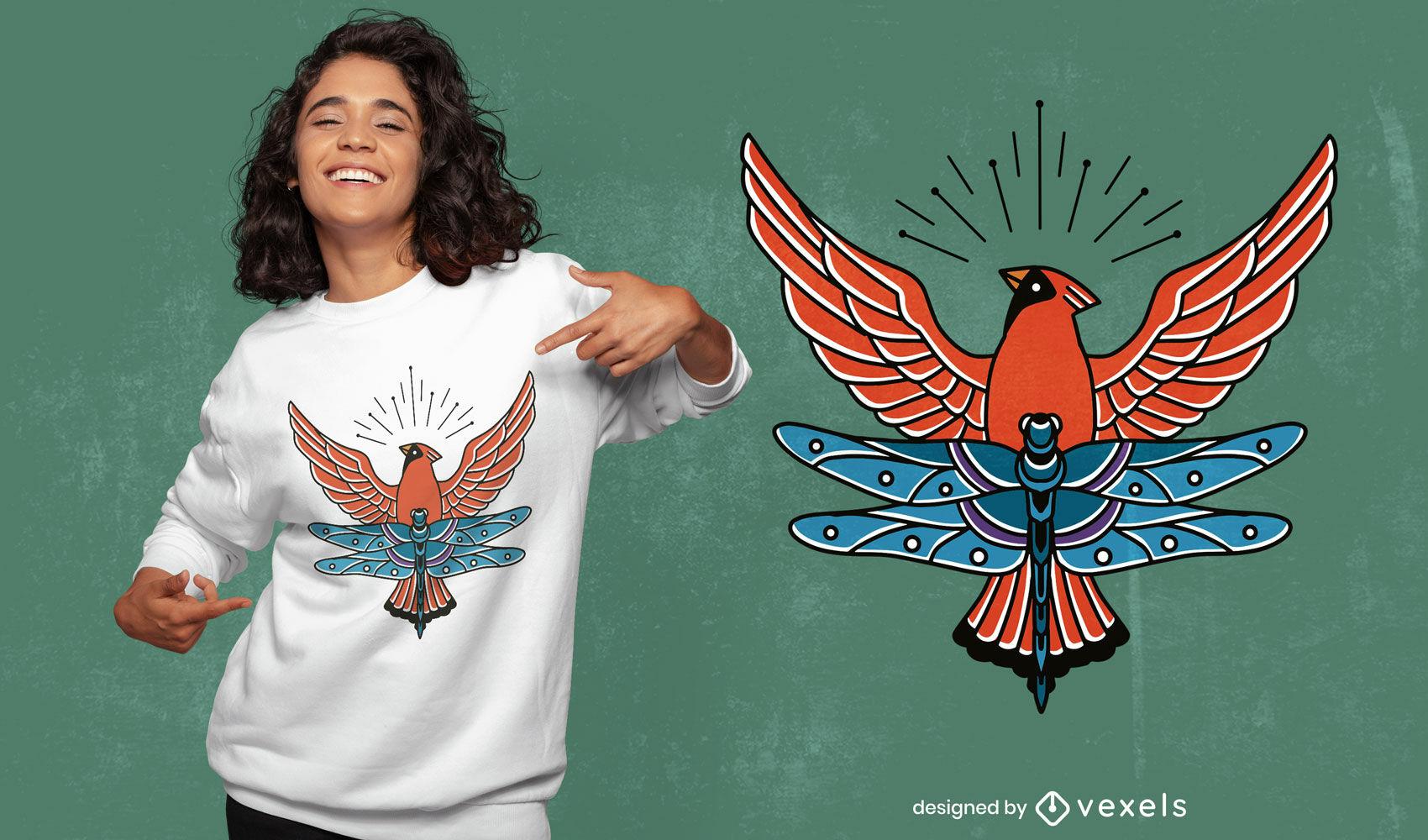 Cardinal bird and dragonfly t-shirt design
