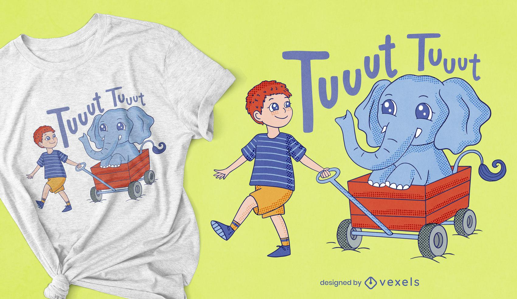 Criança fofa e elefante no design de uma camiseta de carrinho
