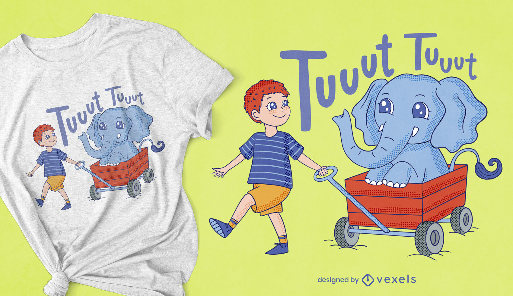 Cute kid and elephant in a cart t-shirt design