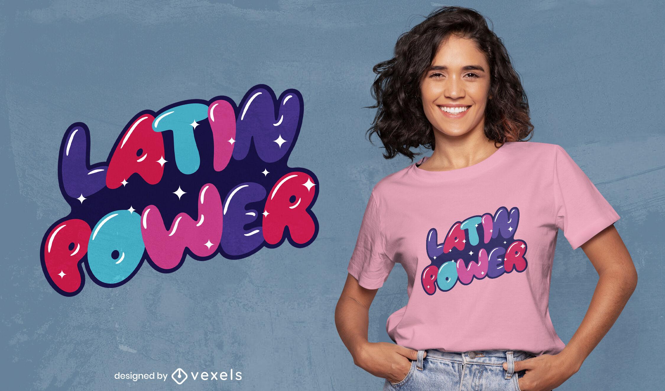 Dise?o de camiseta brillante de Latin Power.