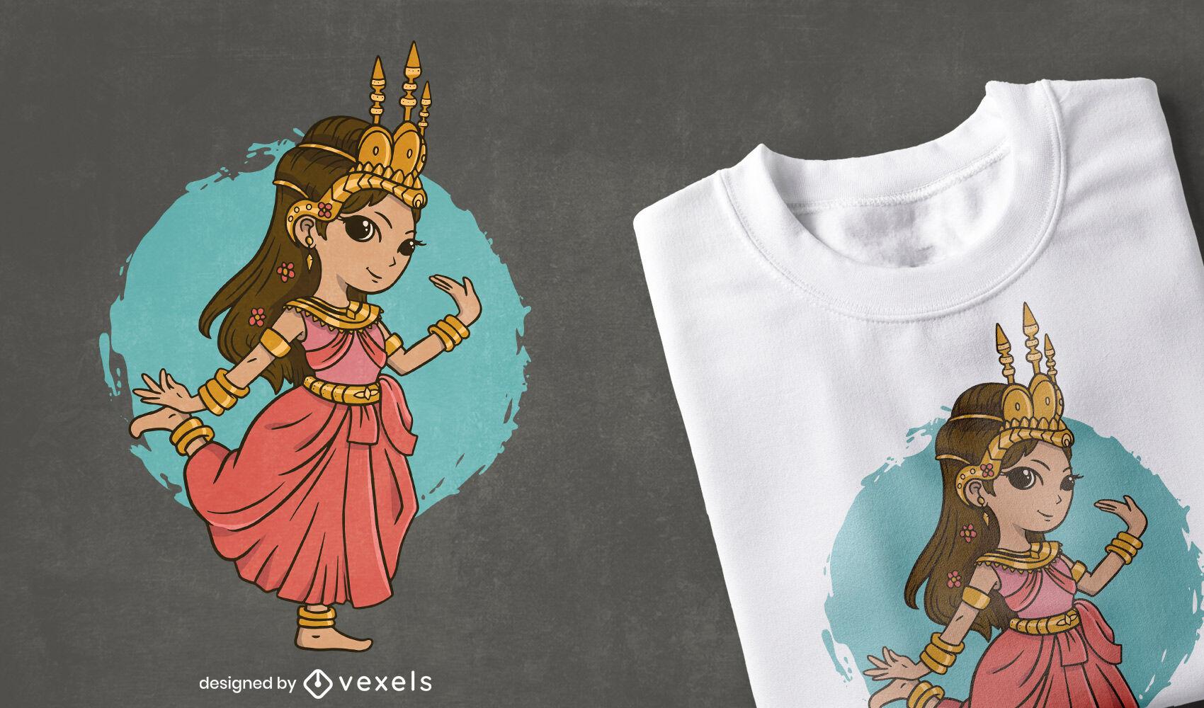 Lindo dise?o de camiseta Apsara Thai