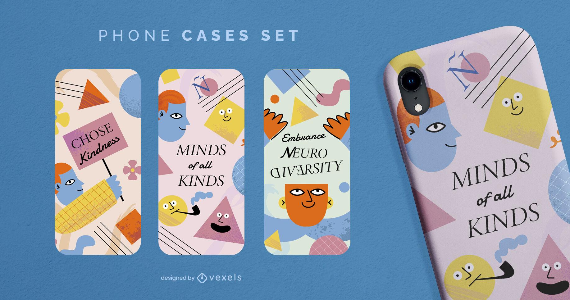 Diseño fresco de la caja del teléfono con neurodiversidad
