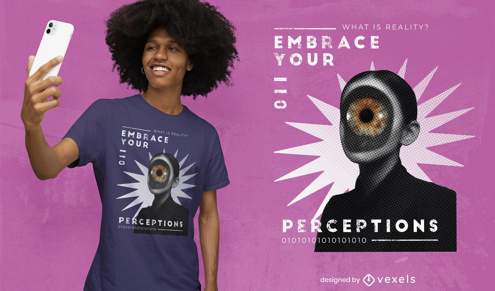 Mujer con camiseta de collage de ojo gigante psd