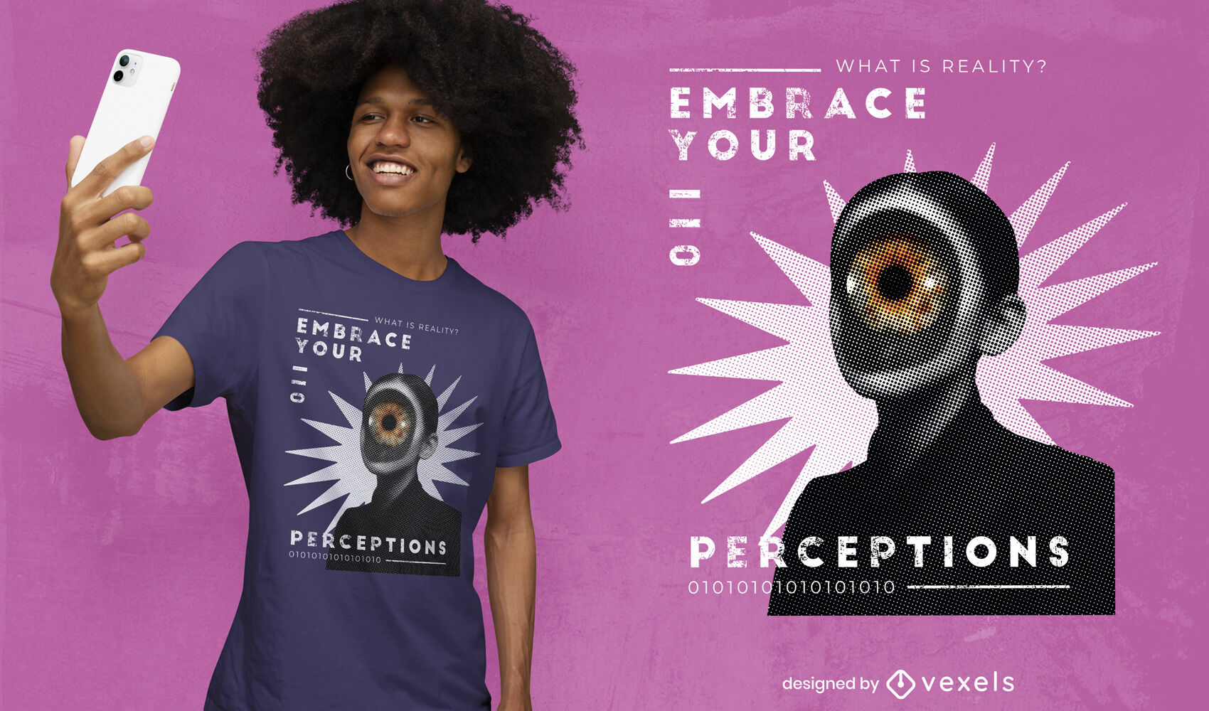Woman with giant eye collage t-shirt psd