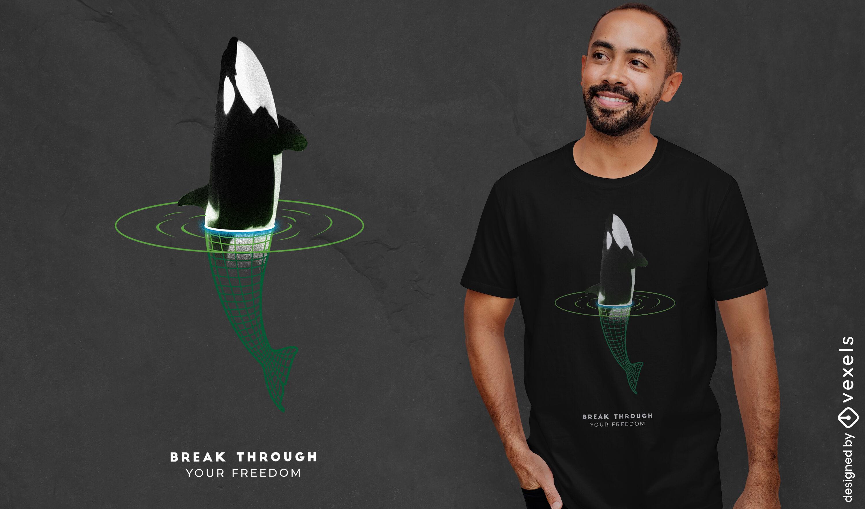 Camiseta del portal de animales marinos de ballena psd
