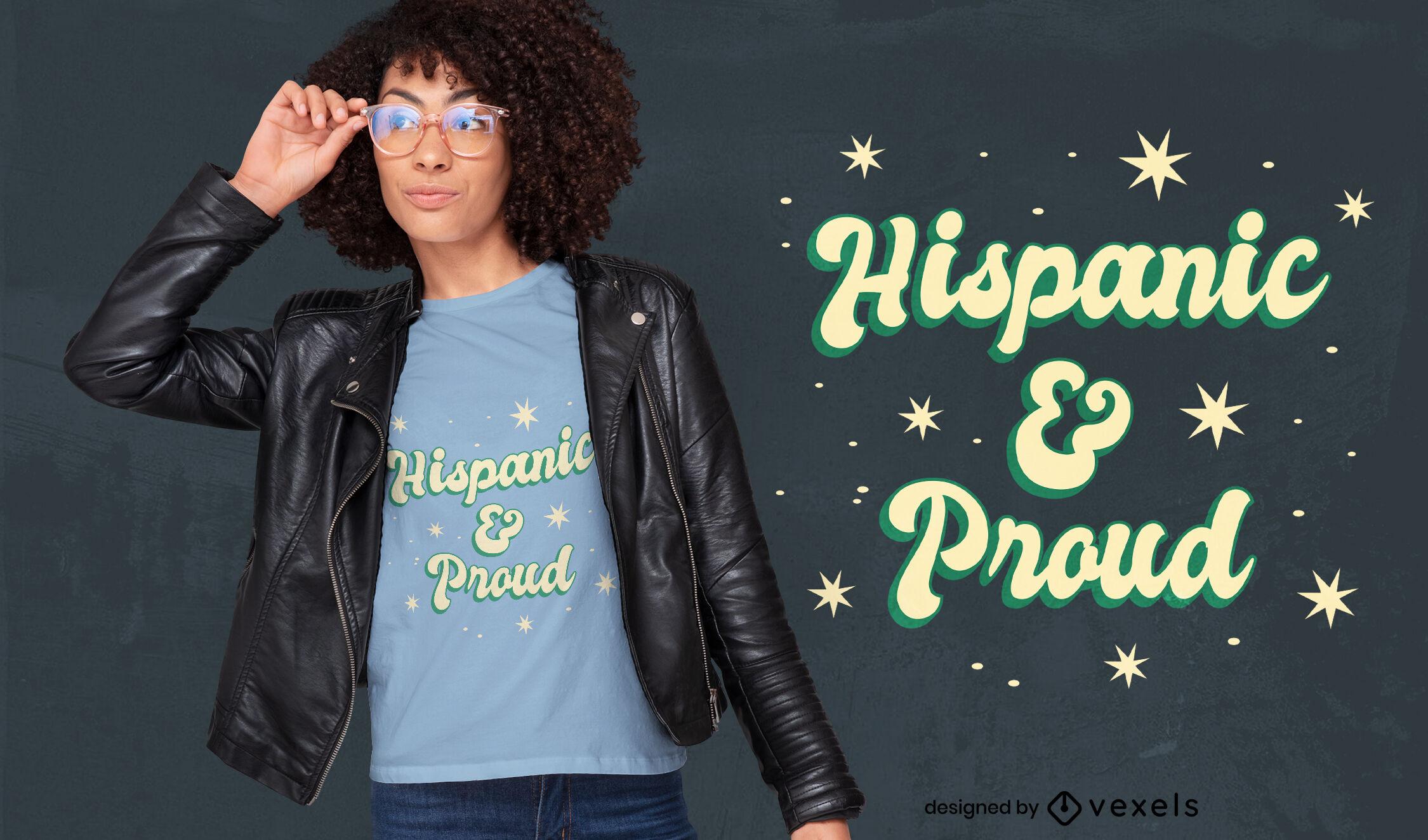 Diseño de camiseta con cita hispana y orgullosa