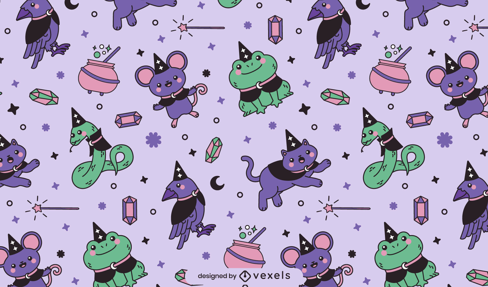Cute Halloween witches pattern design
