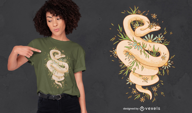 Diseño de camiseta floral serpiente cottagecore