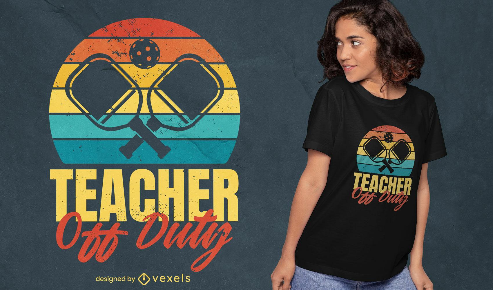 Pickleball teacher retro t-shirt design