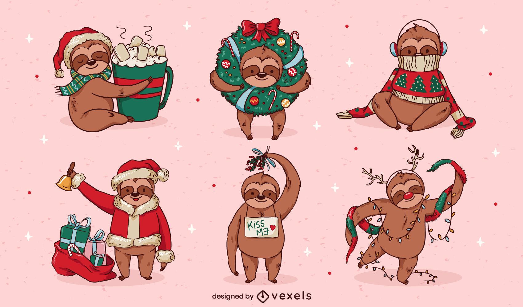Funny Christmas sloth character set