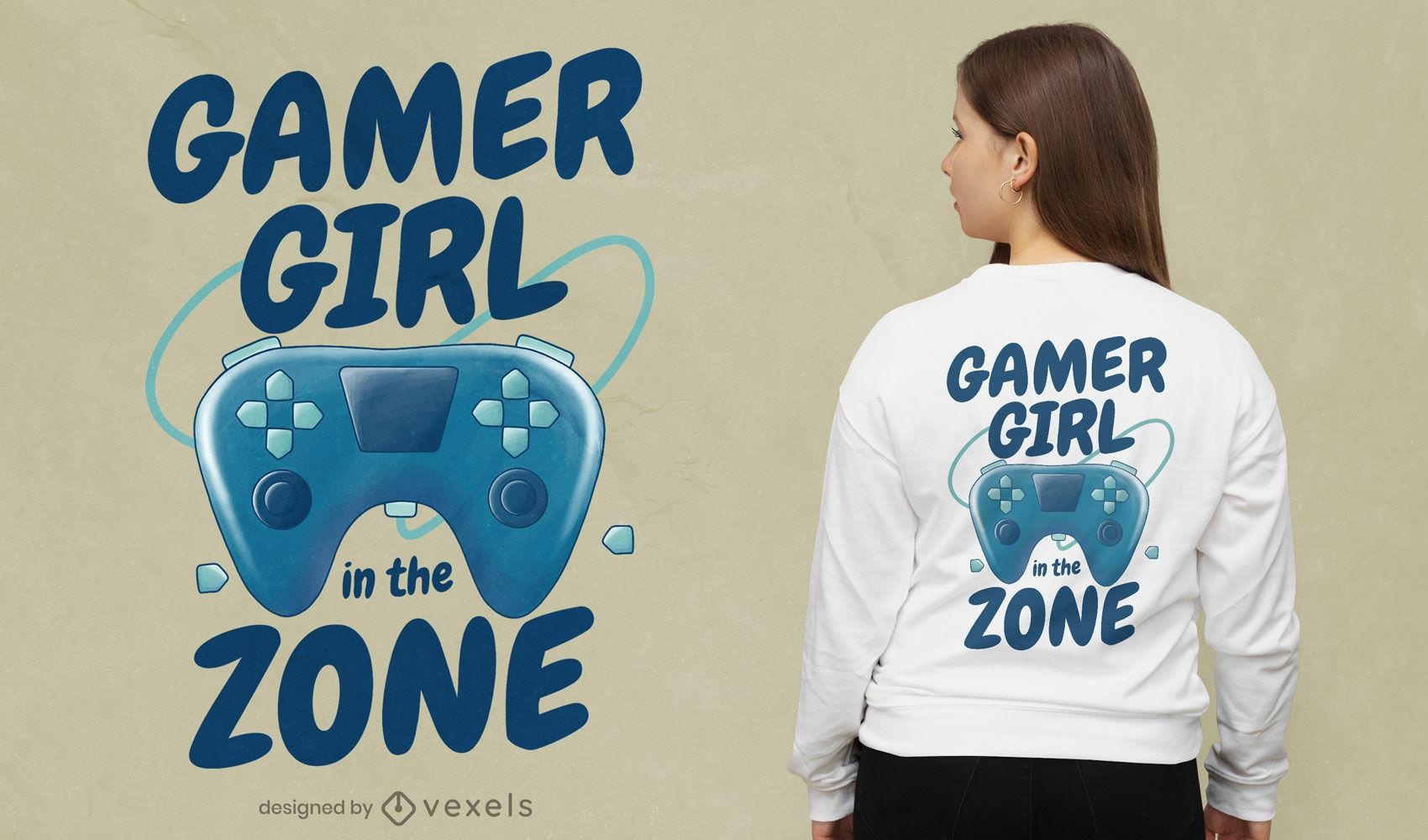 Design de camiseta para gamer com joystick