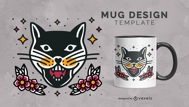 Diseño de taza floral con tatuaje de gato
