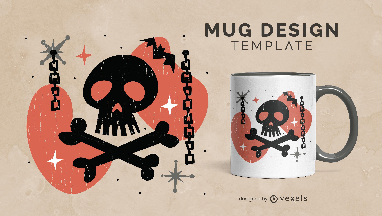 Dark skull mug design
